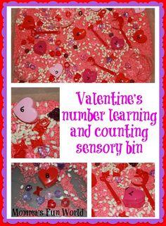 Momma's Fun World: Valentine's counting sensory bin