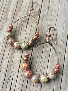 Hoop Earrings with African Opals, Copper Earrings