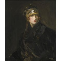 Sir John Lavery, R.A., R.S.A., R.H.A. 1856 - 1941 THE GOLD TURBAN signed l.r.: J Lavery; signed, titled and inscribed on the reverse oil on canvas