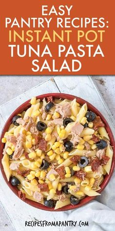 This easy Instant Pot Tuna Pasta Salad is a quick pantry recipe that is nutritious, satisfying & full of flavor. It is budget friendly, uses canned tuna, other canned & dried pantry staple ingredients you already have! Serve cold, this Tuna Pasta Salad recipe has no mayo and is perfect for quick dinners, make ahead lunchboxes, for weekly meal prep, potlucks & picnics. #instantpot #instantpotrecipes #tunapastasalad #tunapastarecipes #tuna #pasta #pastasalad #tunapastasaladcold #pantry Easy Potluck Recipes, Supper Recipes, Vegan Recipes Easy, Lunch Recipes, Tuna Salad Pasta, Pasta Salad Recipes, Seafood Recipes, Instant Pot Pasta Recipe, Instant Pot Dinner Recipes