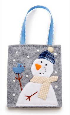 Felt Snowman Ornament Hand Embroidered Blue by JennMaruskaDesign, $8.00