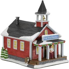 "Holiday Time 8.5"" Olde School House Christmas Village"