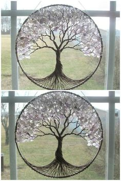 Items similar to Cherry Tree- Wire Tree of Life Wall Hanging in Rose Quartz, Sun Catcher, Rose Quartz, Love in Bloom on Etsy Wire Crafts, Diy And Crafts, Arts And Crafts, Cd Crafts, Diy Y Manualidades, Art Diy, Creation Deco, Wire Trees, Diy Décoration