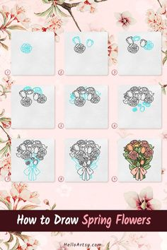Flower Drawing For Kids, Simple Flower Drawing, Easy Flower Drawings, Flower Drawing Tutorials, Simple Flowers, Easy Drawings, Spring Flowers, Flower Drawing Tutorial Step By Step, Learn To Draw