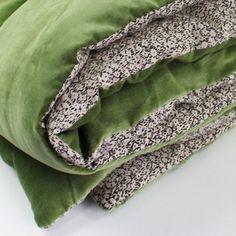Bout de lit réversible matelassé velours uni coton verso fleur liberty 90x200cm TOSCA En Fil d'Indienne port offert