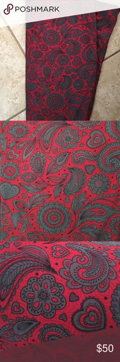 LuLaRoe TC Leggings Crimson Paisley & Hearts Great fall/winter print.   If you can get them from a consultant please do, otherwise make a reasonable offer.  $25 is not a reasonable offer. LuLaRoe Other