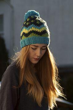 Farb-Mania czapka handmade multi kolor z pomponem w Barabella_shop na DaWanda.com