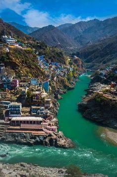 Confluence of rivers , Uttarakhand , India.