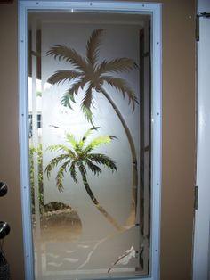 Interior Glass Door Palm Sunset 3d Interior Glass