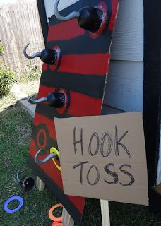 """Hook Toss"" game for a pirate party *Website has lots of other pirate themed party ideas. Idea centered around Jake and the Never-land pirates!"