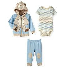 Koala Baby Boys 3 Piece Bear Print Zip Up Hooded Jacket, Paw Printed Short Sleeve Bodysuit and Pant Set