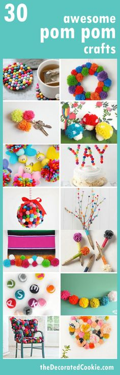 a roundup of 30 awesome POM POM crafts