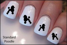 Items similar to Poodle Nail Decal Dog Standard Poodle Design Nail Art on Etsy Cat Nail Art, Animal Nail Art, Nail Polish Art, Beautiful Nail Designs, Cool Nail Designs, Cute Nails, Pretty Nails, Nail Design Spring, Dog Nails