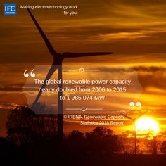 The global renewable power capacity nearly doubled from 2006 to 2015 to 1 985 074 MW Renewable Energy, Innovation, Technology, How To Make, Tech, Tecnologia