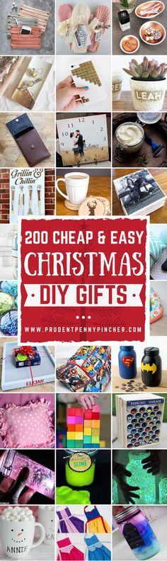 200 Cheap and Easy DIY Christmas Gifts easy gifts to make diy christmas gifts gift ideas craft tutorials christmas crafts christmas DIY Diy Christmas Gifts For Friends, Diy Christmas Gifts For Family, Handmade Christmas Gifts, Homemade Christmas, Simple Christmas, Christmas Crafts, Handmade Ornaments, Christmas Items, Family Gifts