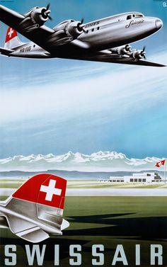 The Swissair Poster Collection – Selections – Galerie 1 2 3 – Original Vinta… Die Swissair Postersammlung – Auswahl – Galerie 1 2 3 – Original Vintage Posters Vintage Advertisements, Vintage Ads, Vintage Room, European Airlines, Swiss Air, National Airlines, Vintage Airplanes, Beautiful Posters, Air France