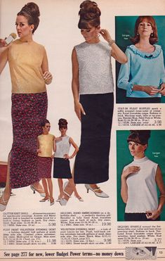 1966 Spiegel Catalog Christmas Page - Gold Tricot Acetate and metallic Mylar Knit sleeveless White Shell (left side) and Textured Arnel triacetate crepe Cowl Neck sleeveless White Shell (bottom right) 60s Fashion Trends, 1960s Fashion Women, Sixties Fashion, Mod Fashion, Vintage Fashion, Fashion Marketing, Fashion Catalogue, Vintage Woman, Vintage Ads