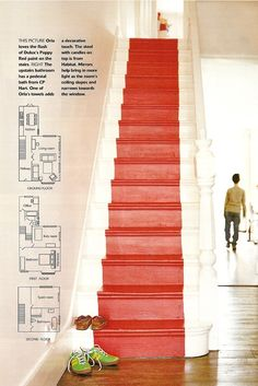livingetc.jpg (479×718)   keep my dark wood on stairs and paint the kick boards this poppy color