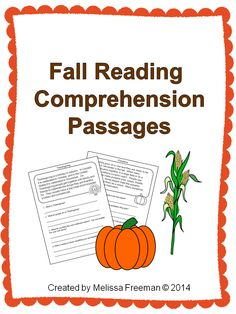 10 short reading passages aimed at a second grade level. Each passage comes with 4 comprehension questions.  Topics: Back to School, Fall, Apple Picking, Thanksgiving, Halloween, Pumpkins,  Squirrels, Football, Harvest, The Fall Fair