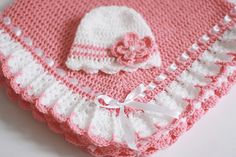 Crochet Baby Blanket/Afghan and Hat White Satin Ribbon