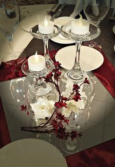 Special Event Wedding Rentals and Decorating. Design, Delivery and setup available. We help you create the wedding of your dreams. Centerpieces With Wine Glasses, Lighted Centerpieces, Wedding Table Centerpieces, Flower Centerpieces, Flower Arrangements, Wedding Decorations, Centerpiece Ideas, Christmas Tree Box Stand, Red And Gold Christmas Tree