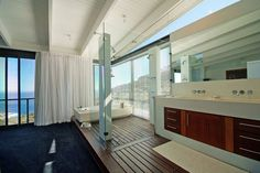 open bathroom with seaview. maritime house