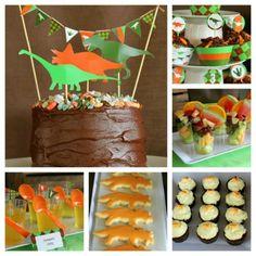 Comida: zumos naturales, galletas con forma de dinosaurio y cake toppers y cupcake toppers con dibujos (Love That Party)