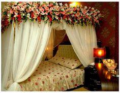 Bridal Room Decor, Wedding Night Room Decorations, Romantic Room Decoration, Romantic Bedroom Design, Flower Room Decor, Wedding Bedroom, Wedding House, Bedroom Night, Romantic Honeymoon