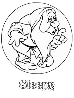 Sleepy - Snow White and the Seven Dwarfs - Disney - Coloring Pages                                                                                                                                                                                 Más