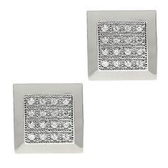 Sterling Silver Handset CZ Micropave High Quality Cufflinks Rhodium Plating $129.99 #GemStoneKing #Cufflinks #SilverCufflinks #BackToSchool