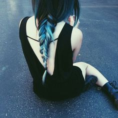 blue dip dye / braid