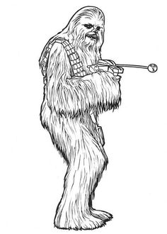 Chewbacca In Star Wars Coloring Page