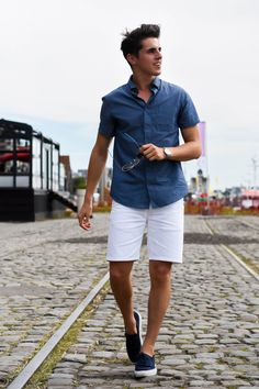 Short sleeve button down + white shorts + navy slip-ons