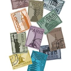 'City Postage Stamps' by New Amsterdam, Tumi, Postage Stamps, Classic T Shirts, Product Launch, Stickers, Dreams, City, Travel