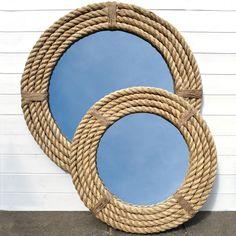diy round mirror frame | Rope Nautical Decor Mirror Coastal Mirrors - kootation.com