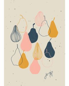 with me! Illustration by Jeah Design.Pear with me! Illustration by Jeah Design. Abstract Illustration, Illustration Noel, Simple Illustration, Pattern Illustration, Photography Illustration, Plant Illustration, Poster Photo, Poster Art, Pear Drawing