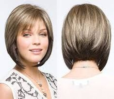 Image result for short bob with layers and bangs (angled bobs for curly hair)