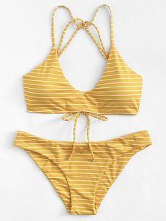 striped strappy bikini set. #borntowear #fashion #tops #swimwear #swimwear#style#woman#beauty