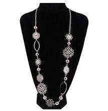 New fashion scava fuori fiore breve tutto fiammifero maglione catena d'argento lunga collana di gioielli TH-N486(China (Mainland))