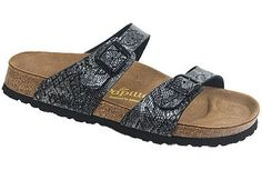 Papillio Sydney  Anaconda Dark Gray Birko-Flor  $79     Two thinner, contoured straps make this style very comfortable for those with prominent foot bones. Creative patterns and materials set the Papillio Sydney apart. The cork footbed is sculpted to match your arches providing support and all-day comfort. EVA soles are flexible, lightweight, durable and resoleable.