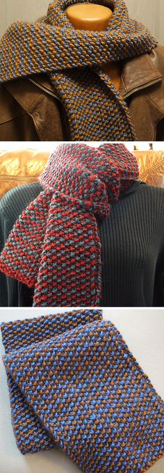 Knitting Pattern for Easy One Row Repeat 2 Color Scarf - Just repeat one row with 2 colors for a versatile textured scarf. Each row is worked using only one color. Rated very easy by Ravelrers. #ad One of the 20 patterns in Quick + Easy Knits - available in digital or print editions. Click the pin image to see more patterns and get the book at Interweave. Get 15% off with code WEAVE15