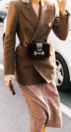 plaid fashion inspiration / blazer + bag + skirt