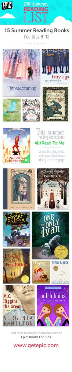 Check out 15 of our favorite summer reading books for children ages 9 - 12! You can find these and thousands more on Epic! Books For Kids. Enjoy the best summer books of 2015 with your children! www.getepic.com/