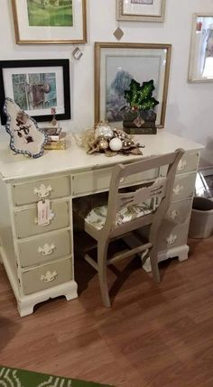 DESK, Vintage, Shabby Chic, Chalk Painted Furniture, Distressed Furniture,  Hand Painted
