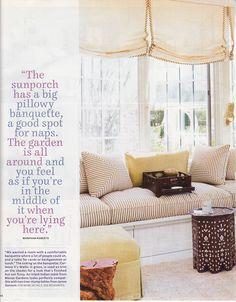 window seat and roman shades