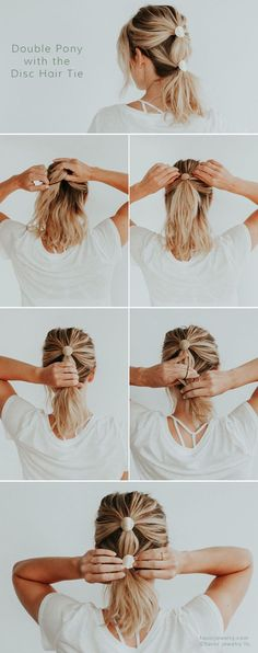 Double Pony with the Disc Hair Ties by Favor Jewelry, hair tutorials, step by step, easy hairstyles workout hair styles for longer hair Long Thin Hair, Long Curly Hair, Curly Hair Styles, Natural Hair Styles, Thick Hair, Face Shape Hairstyles, Straight Hairstyles, Short Haircuts, Easy Hairstyles For Short Hair