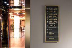 Interior signage and wayfinding for Stockholm-based restaurant Paul's at Haymarket
