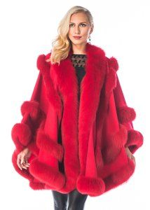 Madison Avenue Malls Red Empress Style Fox Fur Trimmed Cashmere Poncho Cape Size Os One Size 40 Off Retail In 2020 Cashmere Cape Red Cashmere Cashmere Poncho