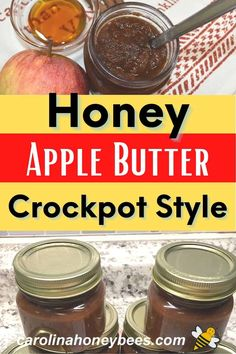 Enjoy homemade honey apple butter in your crockpot with this easy recipe. A great way to incorporate honey in your diet and use up those seasonal apples. #carolinahoneybees