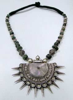 ethnic 925 sterling silver spike pendant necklace by TRIBALEXPORT, $699.00